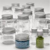 Kunststoffglas mit Schraubverschluss, H: 35-77 mm, D: 24-45 mm, 13+35+50+100 ml, 80 Stk/ 1 Pck