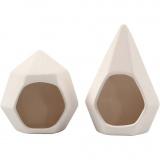 Teelichthalter, Weiß, H: 8,5+11 cm, D: 7,5+8 cm, 6 Stck./ 1 Box