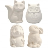 Tier-Spardosen, Weiß, Eule, Fuchs, Igel, Hase, H: 9-10 cm, 4 Stck./ 1 Box