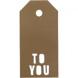 Geschenkanhänger, Gold, TO YOU, Größe 5x10 cm, 300 g, 15 Stck./ 1 Pck.