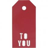 Geschenkanhänger, Rot, TO YOU, Größe 5x10 cm, 300 g, 15 Stck./ 1 Pck.