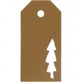 Geschenkanhänger, Gold, Weihnachtsbaum, Größe 5x10 cm, 300 g, 15 Stck./ 1 Pck.