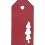 Geschenkanhänger, Rot, Weihnachtsbaum, Größe 5x10 cm, 300 g, 15 Stck./ 1 Pck.