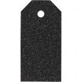 Geschenkanhänger, Schwarz, Größe 5x10 cm, Glitter, 300 g, 15 Stck./ 1 Pck.