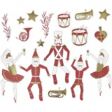 Anhänger, Gold, Rot, Weiß, Größe 2,2x12,5 cm, 57 Stck./ 1 Pck.