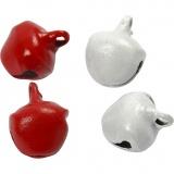 Glöckchen, Rot/Weiß, D: 8 mm, 50 Stk/ 1 Pck