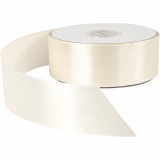 Satinband, Creme, B: 38 mm, 50 m/ 1 Rolle