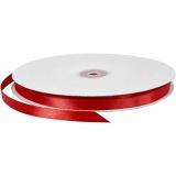Satinband, Rot, B: 10 mm, 100 m/ 1 Rolle