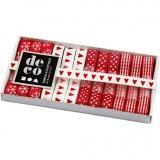 Dekoband-Sortiment, Harmonie in Rot-Weiß, B: 10 mm, 12x1 m/ 1 Pck.