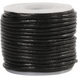 Lederband, Schwarz, Dicke 1 mm, 10 m/ 1 Rolle