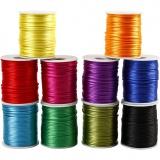 Satinband, Kräftige Farben, Dicke 2 mm, 10x50 m/ 1 Pck