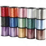 Kräuselband - Sortiment , Sortierte Farben, B: 10 mm, Glänzend, 15x50 m/ 1 Pck.
