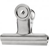 Bulldog-Klammer aus Messing, Silber, B: 7,5 cm, 6 Stck./ 1 Pck.
