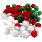 Pompons, Grün, Rot, Weiß, D: 15+20 mm, 48 sort./ 1 Pck.