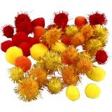 Pompons, Orange, Rot, Gelb, D: 15+20 mm, 48 sort./ 1 Pck.