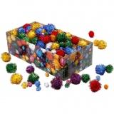 Glitzer-Pompons, Kräftige Farben, D: 15-40 mm, Glitter, 400 g/ 1 Pck.