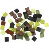 Mini-Mosaik, Grün mit Glitter, Größe 5x5 mm, 25 g/ 1 Pck.