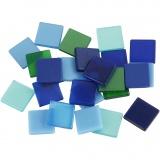 Mini-Mosaik, Harmonie in Blau-Grün, Größe 10x10 mm, 25 g/ 1 Pck.