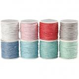 Baumwollband, Sortierte Farben, dicke 1 mm, 8x40 m/ 1 Pck.