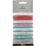 Baumwollband, Sortierte Farben, dicke 1 mm, 8x5 m/ 1 Pck.