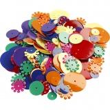 Pailletten - Sortiment, Sortierte Farben, rund, Größe 10-25 mm, 35 g/ 1 Pck.