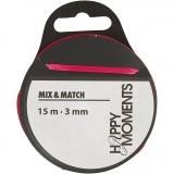 Satinband, Pink, B: 3 mm, 15 m/ 1 Rolle