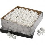 Styropor-Kugeln und -Eier, Weiß, Größe 1,5-6,1 cm, 550 Stck./ 1 Pck.
