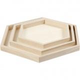 Holztabletts, D: 21+26+31 cm, 3 Stck./ 1 Set