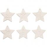 Medaillons zum Aufhängen, Weiß, Sterne, Größe 7x7 cm, 6 Stck./ 1 Pck.