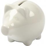 Sparschwein, Naturweiß, H: 8 cm, B: 8,5 cm, 10 Stck./ 1 Box