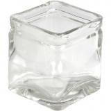 Kerzenglas, H: 5,5 cm, Größe 5,5x5,5  cm, 12 Stck./ 1 Box