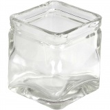 Kerzenglas, H: 8 cm, Größe 7,5x7,5 cm, 12 Stck./ 1 Box