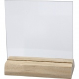 Glasplatte mit Holzständer, Größe 7,5x7,5 cm, dicke 28 mm, 10 Set/ 1 Box