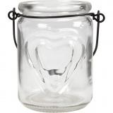 Kerzenglas, H: 9,5 cm, D: 6,5 cm, 2 Stck./ 1 Pck.