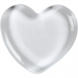 Herz, Transparent, Größe 6,5x6,5 cm, dicke 10 mm, 1 Stck.
