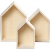 Aufbewahrungskästen, Häuser, H: 20,3+25,3+31 cm, B: 13+16,2+20 cm, 3 Stck./ 1 Set