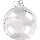 Glaskugel mit Loch, D: 8 cm, 6 Stck./ 1 Pck.