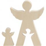 2in1 - Holzfigur, Engel, H: 7,8+20 cm, B: 4,5+14,3 cm, 1 Set