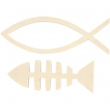 Holzfische, H: 4,5+5,5 cm, B: 12,5+15,8 cm, 1 Set