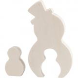 2in1 - Holzfigur, Schneemänner, H: 4,5+11,5 cm, B: 3+6,5 cm, 1 Set