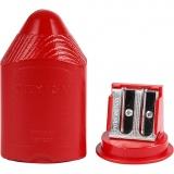 Doppel-Spitzerdose, Rot, H: 8,5 cm, 1 Stck.