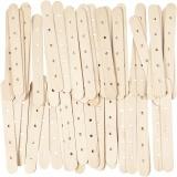 Holzflachstäbe mit Lochung, L: 15 cm, B: 1,8 cm, Lochgröße 4 mm, 500 Stck./ 1 Pck.