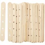 Holzflachstäbe mit Lochung, L: 15 cm, B: 1,8 cm, Lochgröße 4 mm, 20 Stck./ 1 Pck.