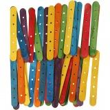 Holzflachstäbe mit Lochung, Sortierte Farben, L: 15 cm, B: 1,8 cm, Lochgröße 4 mm, 500 sort./ 1 Pck.