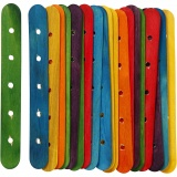 Holzflachstäbe mit Lochung, Sortierte Farben, L: 15 cm, B: 1,8 cm, Lochgröße 4 mm, 20 sort./ 1 Pck.