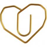 Klammern, Gold, Herz, Größe 30x20 mm, 6 Stk/ 1 Pck