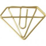Klammern, Gold, Diamant-Form, H: 25 mm, B: 35 mm, 6 Stk/ 1 Pck