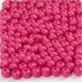 Holzperlen, Pink, D: 5 mm, Lochgröße 1,5 mm, 6 g/ 1 Pck., 150 Stck.