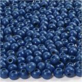 Holzperlen, Blau, D: 5 mm, Lochgröße 1,5 mm, 6 g/ 1 Pck., 150 Stck.