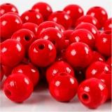 Holzperlen, Rot, D: 10 mm, Lochgröße 3 mm, 20 g/ 1 Pck.